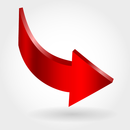 Red arrow and neutral white background. 3D illustration