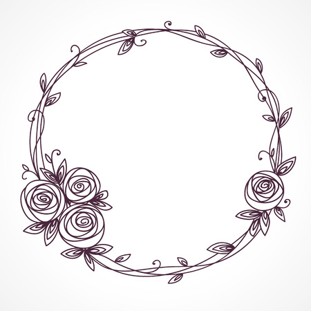Floral frame. Wreath of rose flowers. Vettoriali