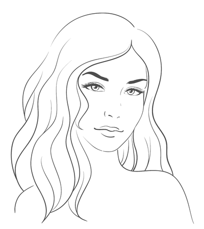 Young woman face with long blond hair. Illustration