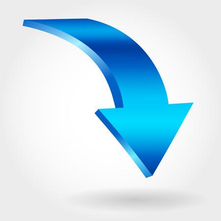 Blue declining arrow as symbol of financial crisis