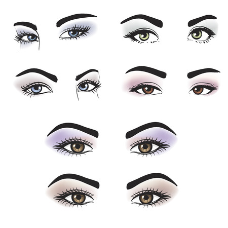 Female eyes of different colors with makeup