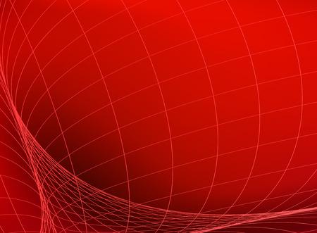 Estructura geométrica. Red en espacio rojo. Bandera de tecnología abstracta.