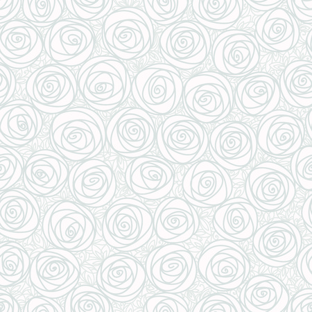 White seamless pattern. Outline stylized roses. Abstract floral background. Doodle hand drawn line art design element