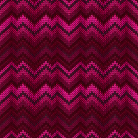 Purple seamless knit pattern. Zigzag embroidery