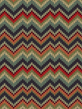 Multicolor seamless knit pattern. Zigzag embroidery texture. Illustration
