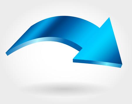 Blue arrow. Isolated curve vector icon. Crisis concept