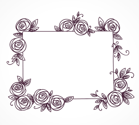 Vintage cute floral frame. Hand drawn illustration for for wedding, greeting, birthday decoration design Illustration