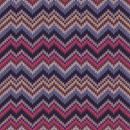 Multicolor seamless knit pattern. Zigzag embroidery