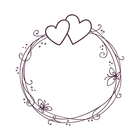 Valentines day frame. Wedding vector background with two hearts. Illustration