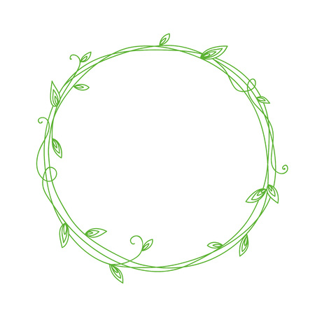 Floral Frame. Wreath with stylized leaves. Decorative simple floral elements for design. Isolated illustration. Eco style. Illustration