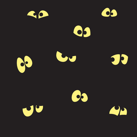 Black background with yellow eyes. Seamless vector pattern. Cartoon emoticon faces in night. Illustration