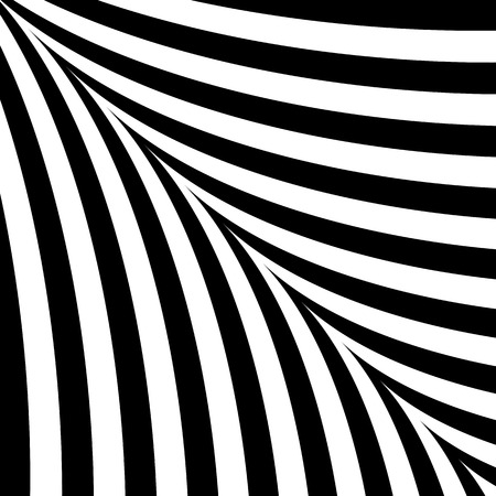 Black and white abstract background with curves symmetrical stripes. Illustration
