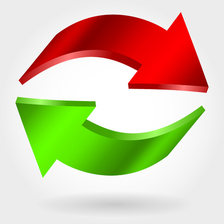 Counter red and green arrows. Photorealistic 3d illustration. Exchange and recovery symbol Illustration