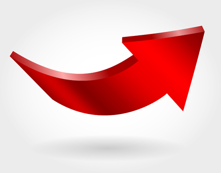 Red up arrow as symbol of economic growth