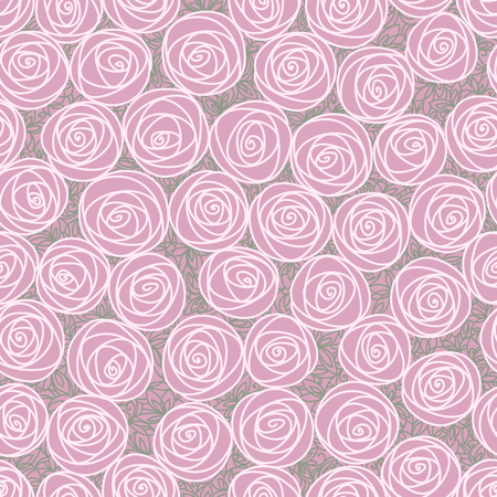 Floral seamless pattern. Outline stylized roses. Abstract background with pink flowers. Doodle hand drawn line art design element