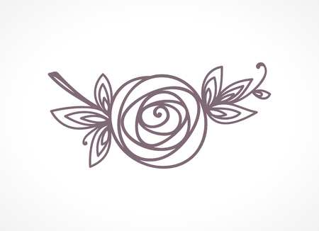 Rose. Stylized flower symbol. Outline hand drawing icon. Decorative element for wedding, birthday design.