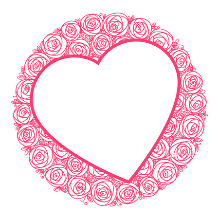 heart shape frame for message and round bouquet of roses flowers. Outline drawing illustration.