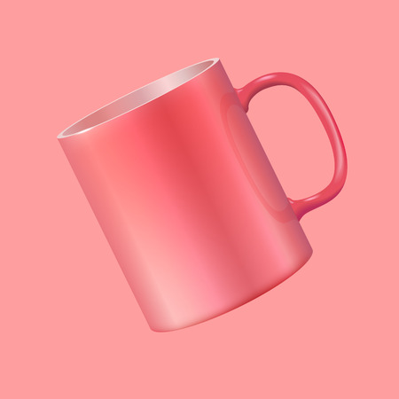 Tea cup hanging in the air. Realistic vector 3d illustration. Living Coral color 2019. Illustration