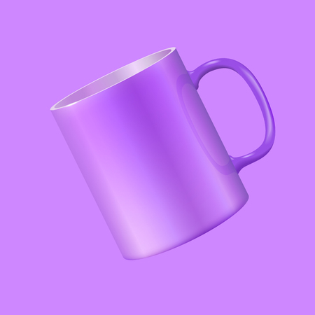 Tea mug hovers in the air. Ultra violet color 2018. Realistic vector 3d illustration.
