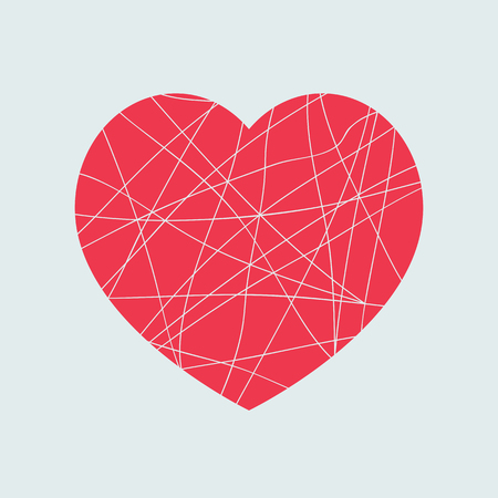 Broken red heart shape isolated on light background. Mosaic love symbol design element.