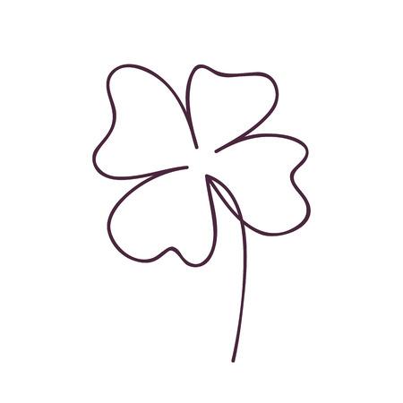 Saint patrick clover leaf, Continuous line art vector illustration