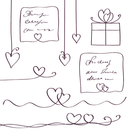 Set of heart line design elements. Scribble style. Continuous line art drawing. Vector illustration. Illustration