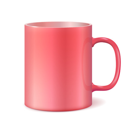 Big ceramic cup for printing corporate logo. Cup isolated on white background. Vector 3D illustration. Living Coral color 2019 Illustration