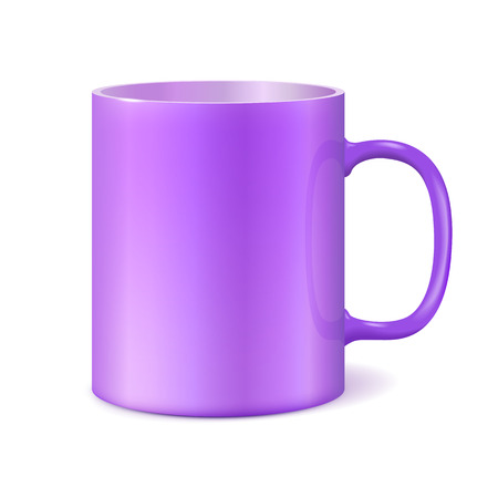 Big ceramic cup for printing corporate logo. Cup isolated on white background. Vector 3D illustration. Ultra violet color 2018. Ultra violet color 2018.