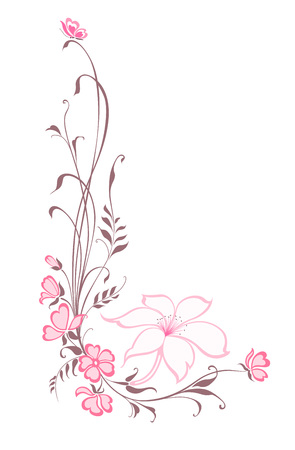 Flowers decorative background. Vertical floral pattern with lilie. Illustration