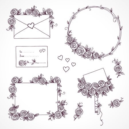 Set of floral design elements. Flower branch, wreaths, heart. Roses flowers. Wedding birthday valentines day concept
