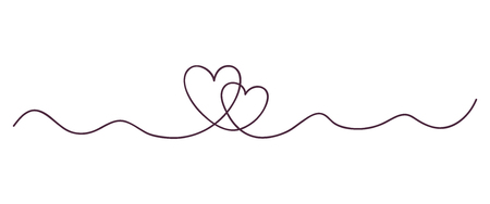 Continuous line art drawing. Couple of hearts symbolize love. Abstract hearts woman and man. Vector illustration .