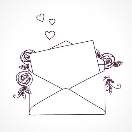 Open letter with roses and hearts. Postal holiday outline doodle graphic design.