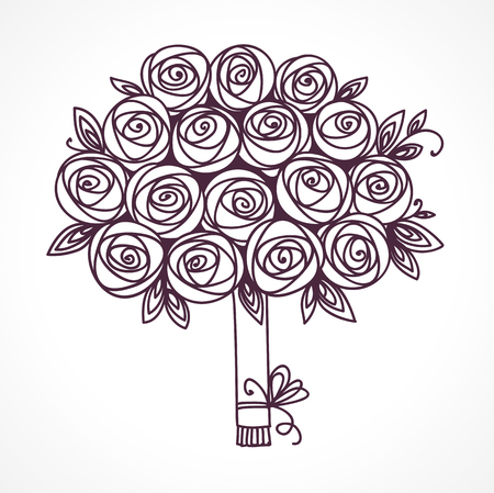 Rose flowers gift. Luxurious anniversary bouquet of roses. Outline drawing, black and white vector illustration.