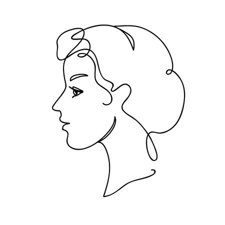 Illustration vectorielle de visage Silhouette. Jeune fille séduisante. Dessin en continu. Conception de concept d'art en ligne. Vecteurs