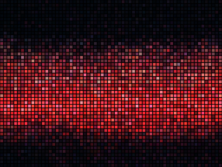 Red abstract lights disco background. Square pixel mosaic.