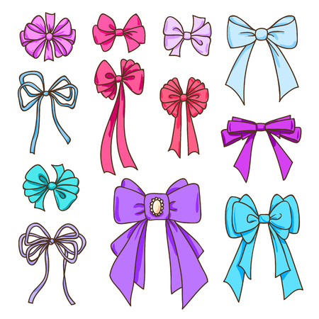 Set of color bows for the design congratulatory cards, gifts, souvenirs. Drawing sketches.