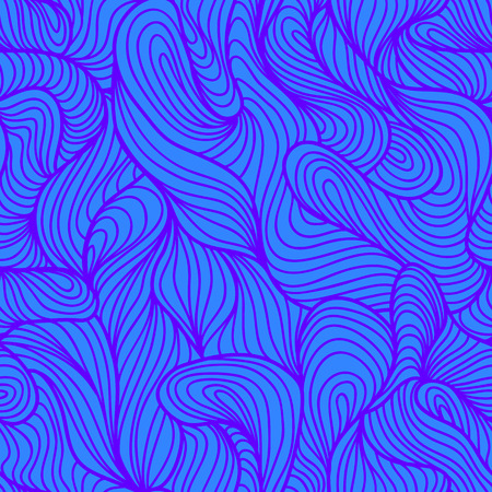 Seamless abstract ultra violet hand drawn pattern, waves background. Yarn curly pattern blue color