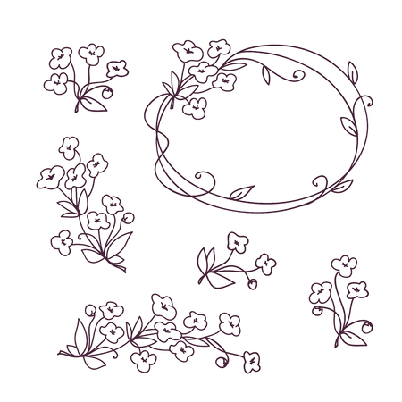 Set of floral design elements. Flower branch wreath romantic design with sakura flowers Vecteurs