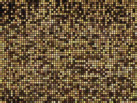 Fondo dorato della discoteca delle luci astratte. Mosaico di pixel quadrati. Vettoriali