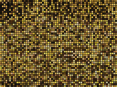 Golden abstract lights disco background. Square pixel mosaic. Vetores