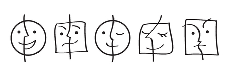 Black and white faces emotions. Set of paired faces of unity and opposites. Positive and negative, duality concept.