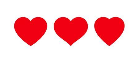 Red heart Icon isolated on white background. Set of love symbols Illustration