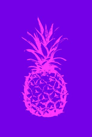 Pineapple icon. Tropical exotic fruit shape pattern. Outline icon. Vector graphics