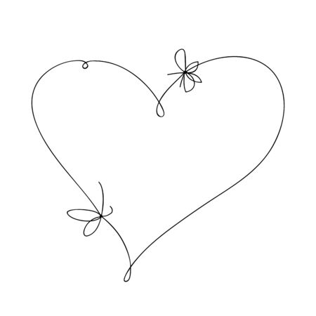 Hand draw a heart with a bow. Hand drawn doodle vector illustration in a continuous line. Line art decorative design