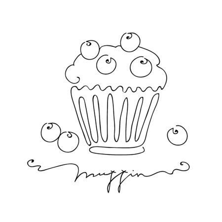 Muffin with blueberry isolated on white background. Hand drawn vector illustration line art style Illustration