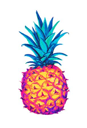 Pineapple icon. Tropical exotic fruit shape pattern. Pineapple hand drawn watercolor multicolored vector graphics.