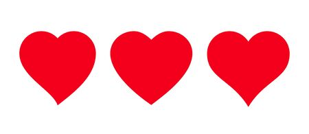 Red heart Icon isolated on white background. Set of love symbols 向量圖像