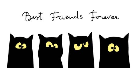 Four black cats silhouettes with different tempers Illusztráció
