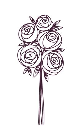 Flower bouquet. Stylized roses hand drawing. Present for wedding, birthday