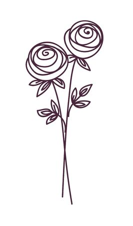 Rose. Stylized flower symbol set. Outline hand drawing icon. Decorative element for wedding, birthday design. Ilustração